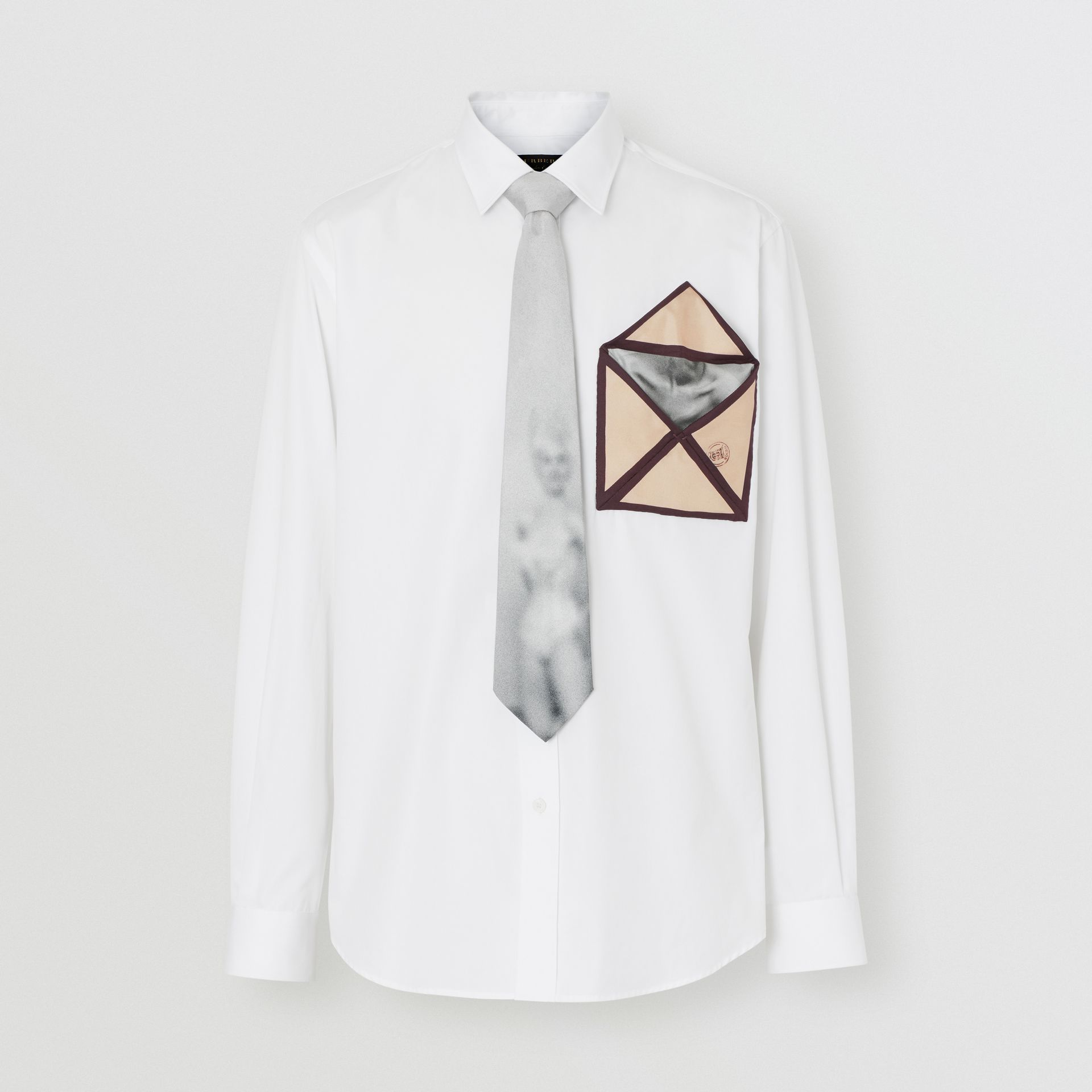 Silk Pocket Detail Cotton Shirt in White | Burberry - gallery image 3