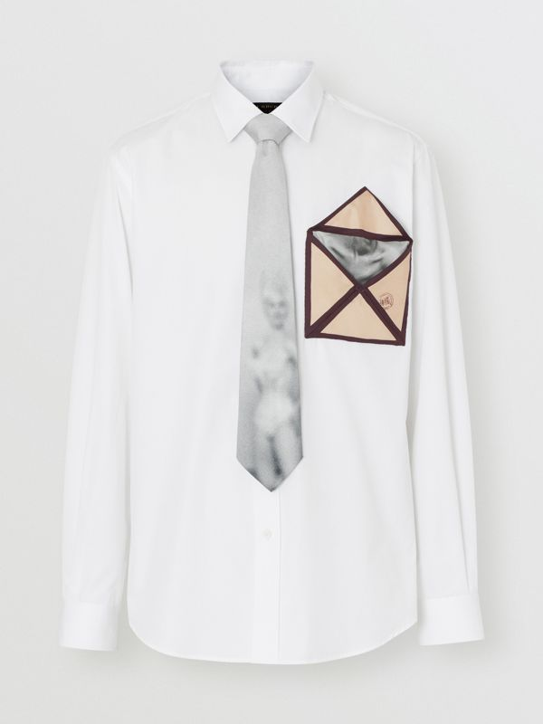 Silk Pocket Detail Cotton Shirt in White | Burberry - cell image 3