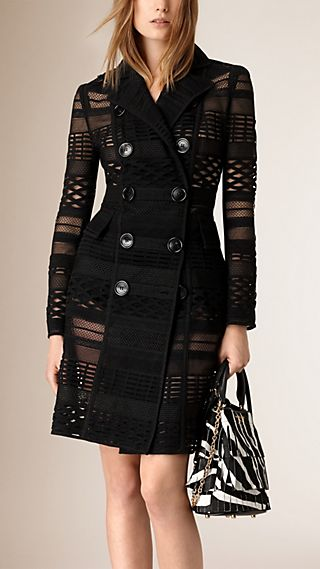 Japanese Woven Mesh Panelled Trench Coat