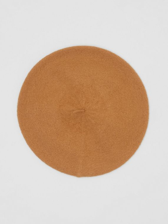 Logo Graphic Merino Wool Beret in Burnt Almond
