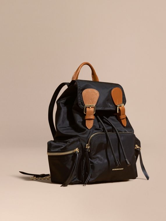 The Medium Rucksack in Technical Nylon and Leather Black
