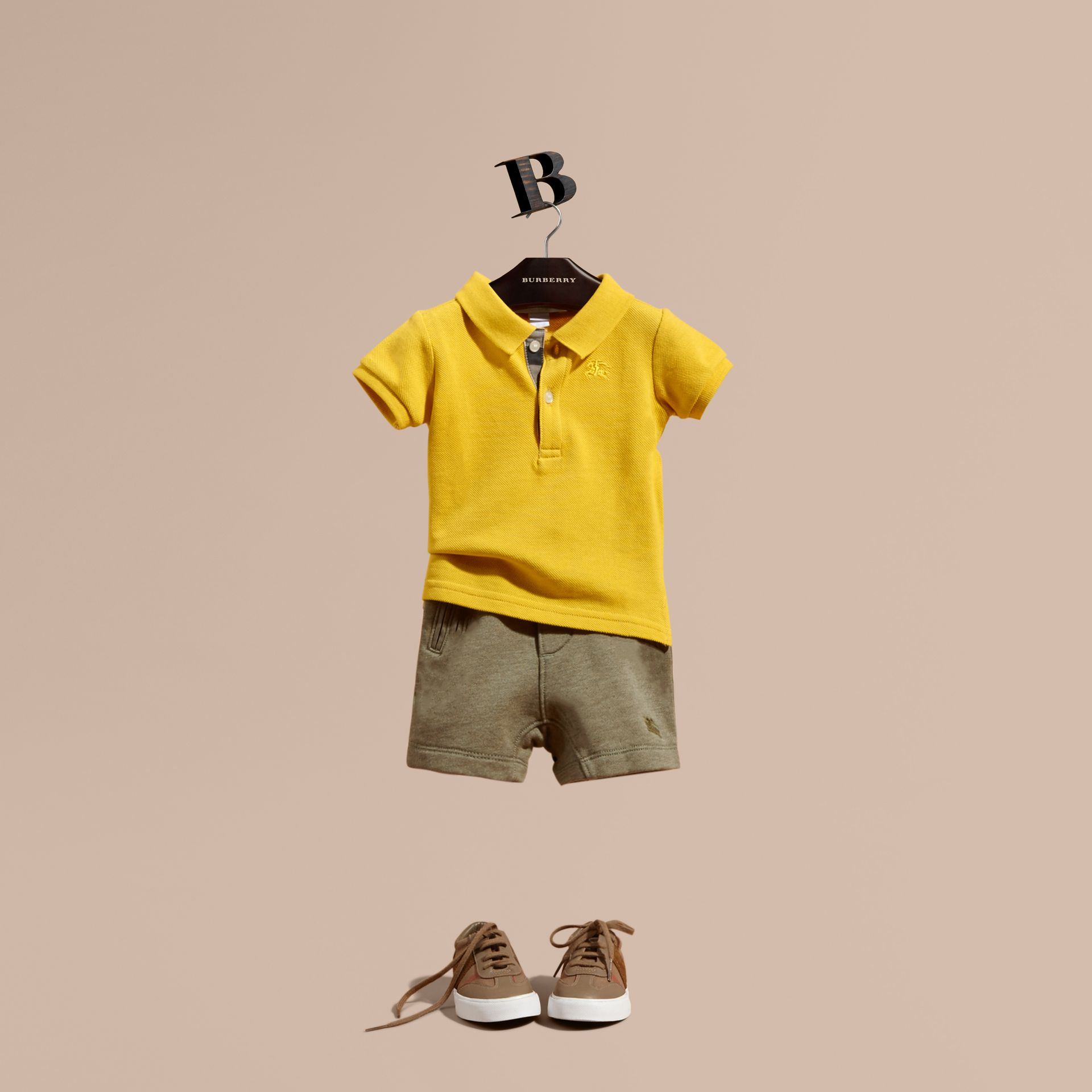 Cotton Jersey Drawcord Shorts in Khaki Green Melange | Burberry - gallery image 1
