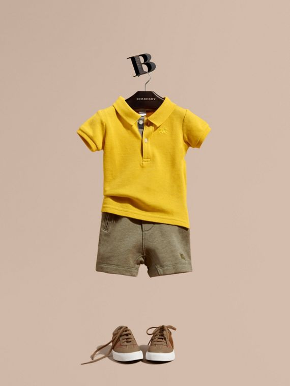 Cotton Jersey Drawcord Shorts in Khaki Green Melange | Burberry