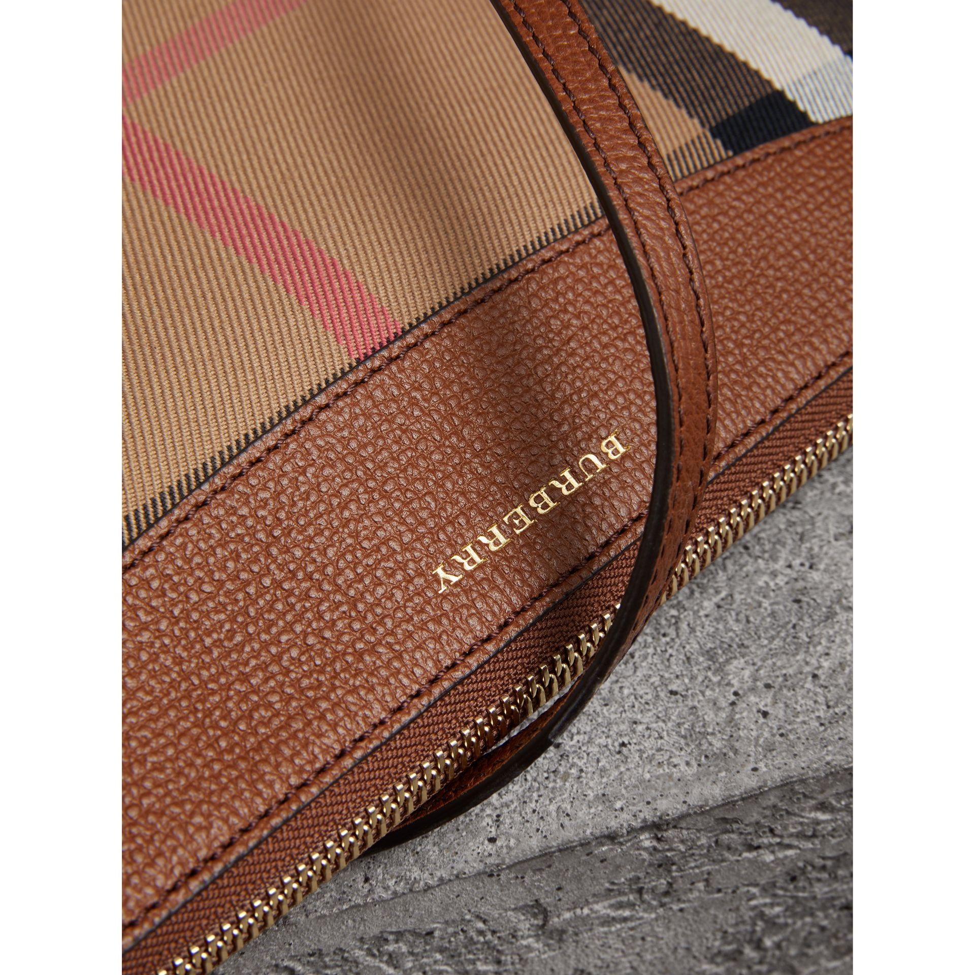 House Check and Leather Clutch Bag in Tan - Women | Burberry Singapore - gallery image 1