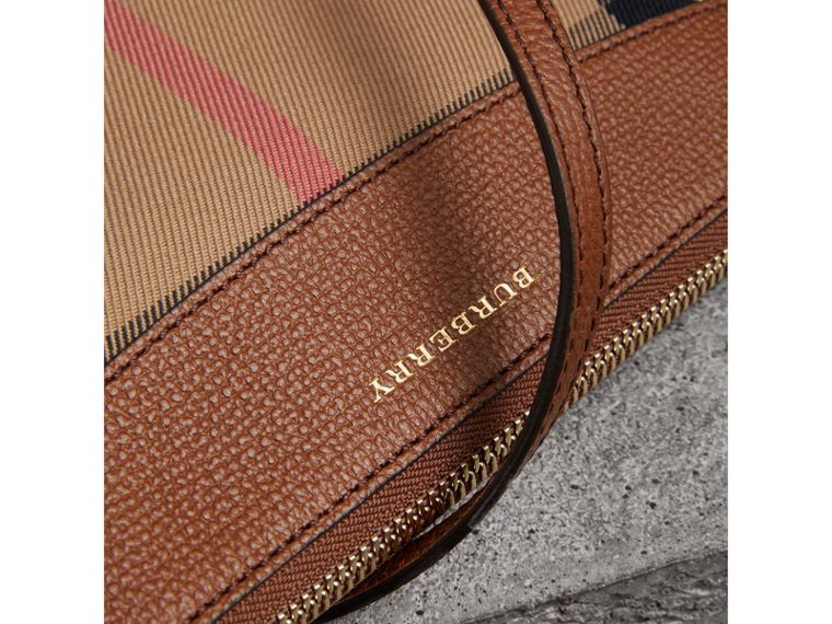 House Check and Leather Clutch Bag in Tan - Women | Burberry Australia - cell image 1