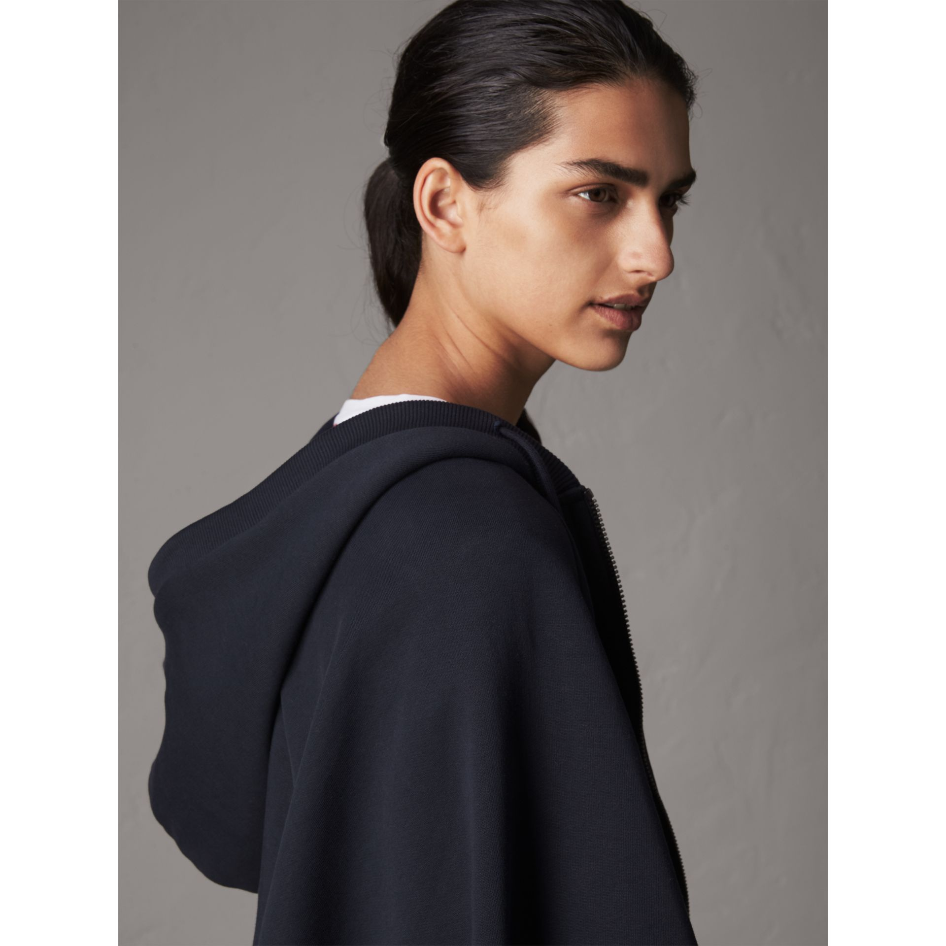 Jersey Hooded Cape in Navy - Women | Burberry - gallery image 1