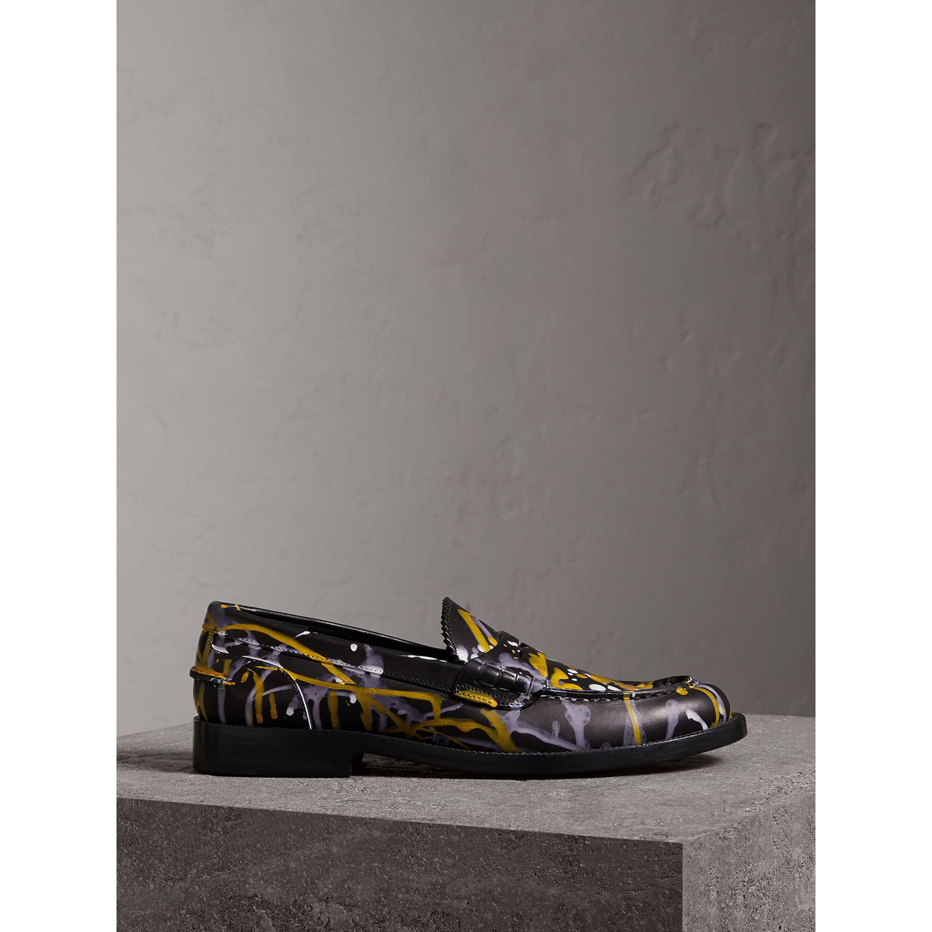 Splash Print Leather Penny Loafers in Black - Women | Burberry Canada - gallery image 3