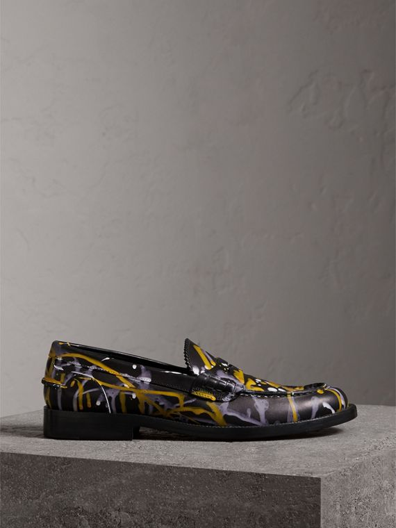Splash Print Leather Penny Loafers in Black - Women | Burberry Canada - cell image 3