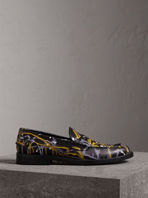 Splash Print Leather Penny Loafers in Black - Women | Burberry - cell image 3