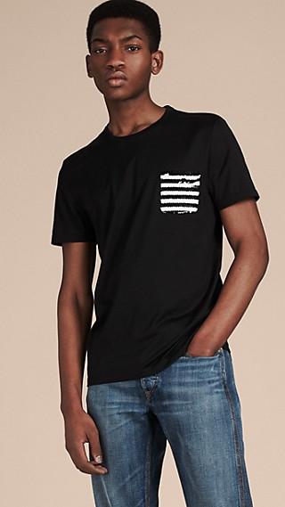 Baumwoll-T-Shirt mit Paillettenstreifen