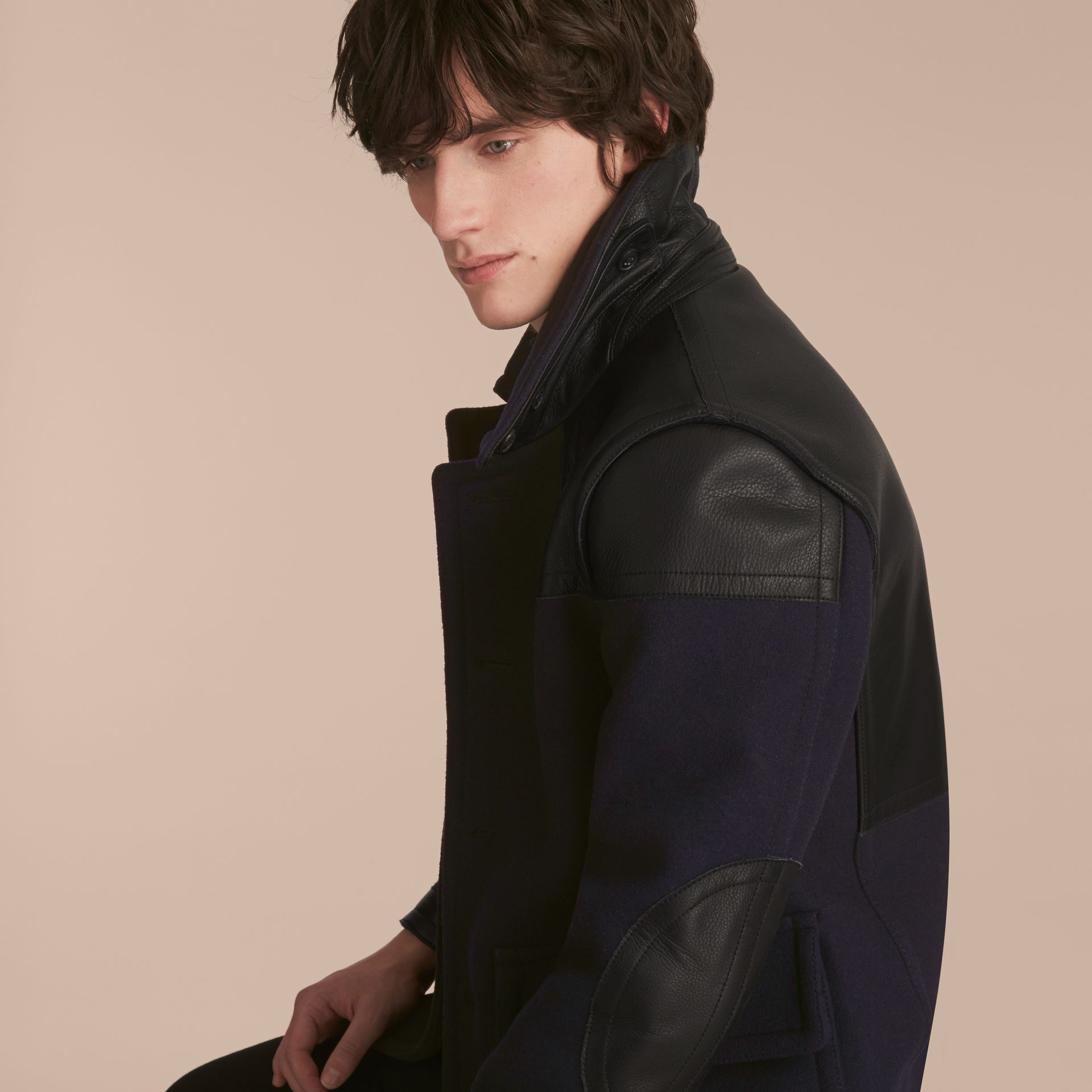 Pea Coat with Detachable Shearling Topcollar - gallery image 5