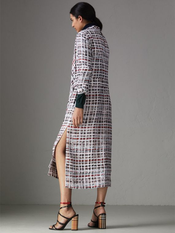 Tie-neck Scribble Check Silk Dress in Cadmium Red - Women | Burberry Hong Kong - cell image 2