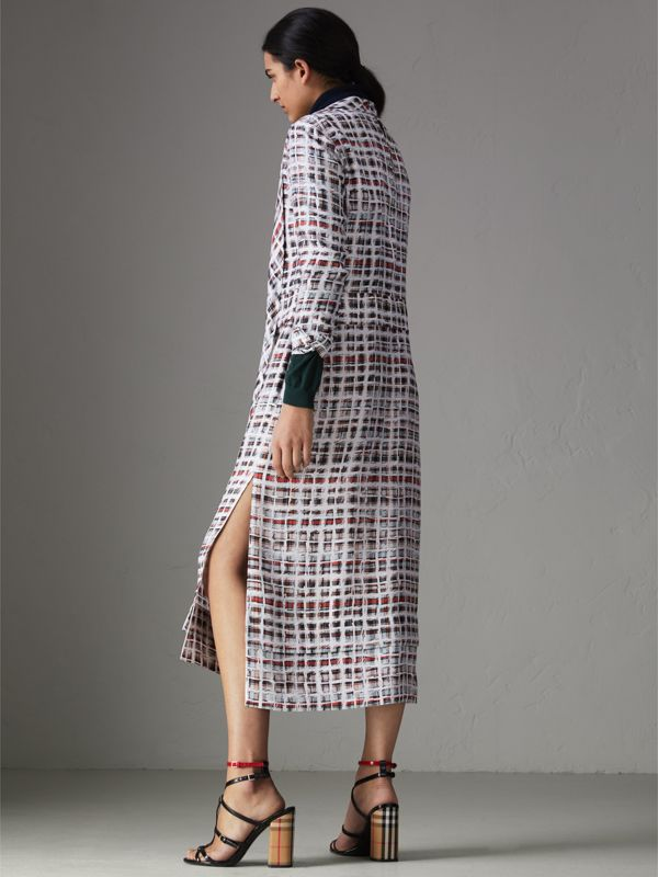 Tie-neck Scribble Check Silk Dress in Cadmium Red - Women | Burberry - cell image 2