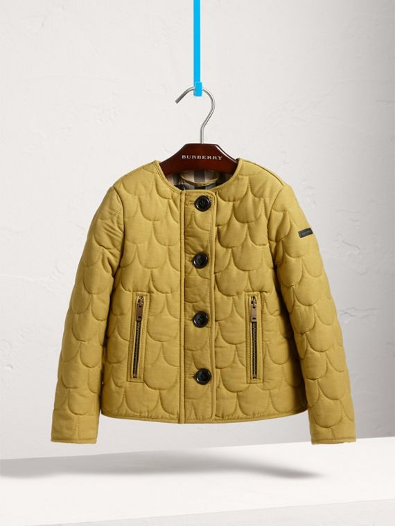 Collarless Scallop-quilted Jacket in Dusty Citrine - Girl | Burberry - cell image 2