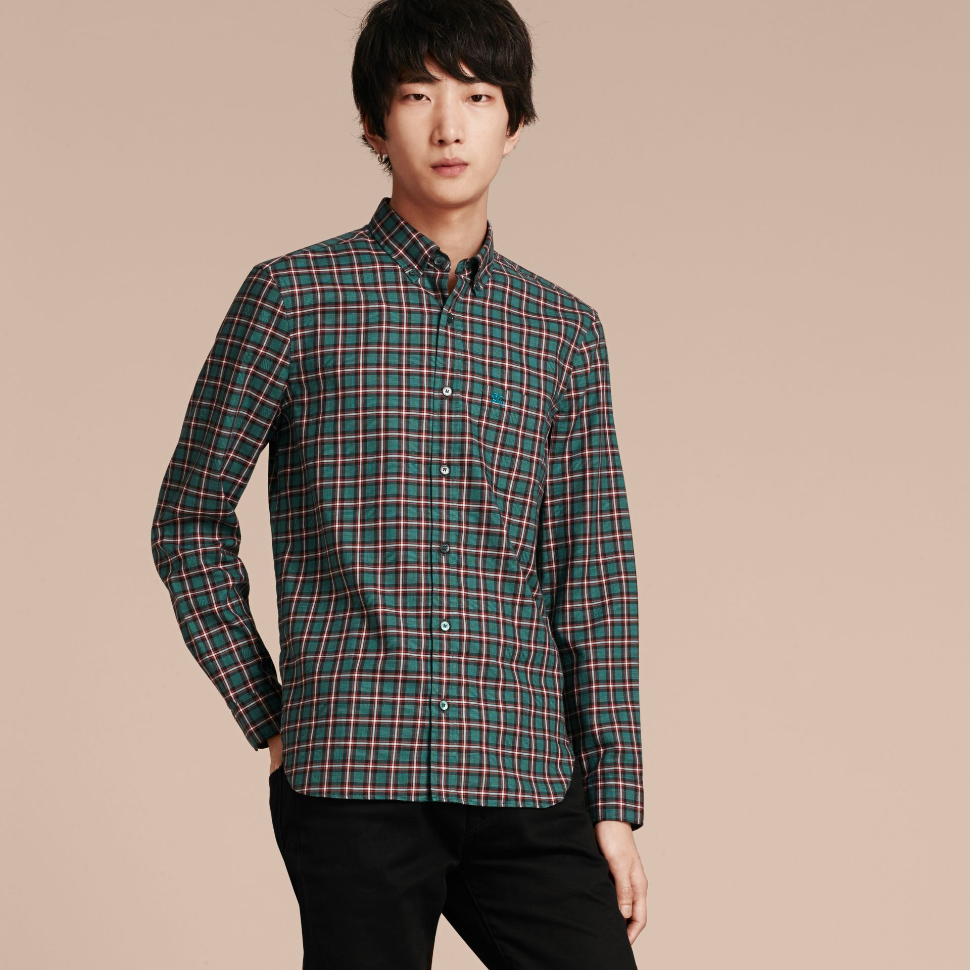 Dark teal green Tartan Cotton Twill Shirt Dark Teal Green - gallery image 5