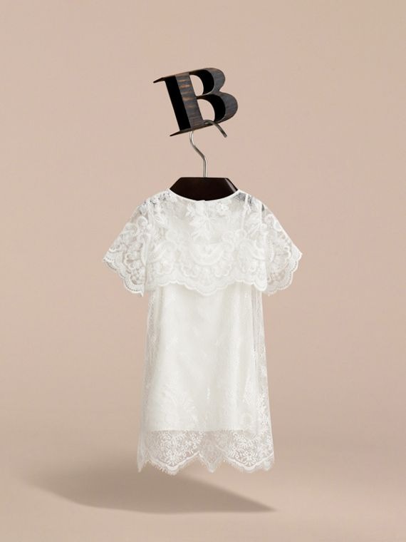 Layered Lace Shift Dress in White | Burberry Canada - cell image 3
