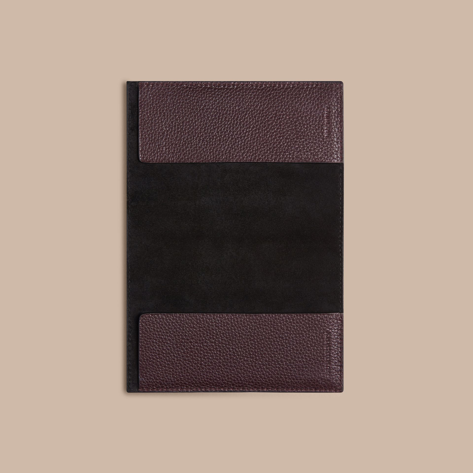 Grainy Leather Passport Cover in Ebony Red | Burberry - gallery image 3
