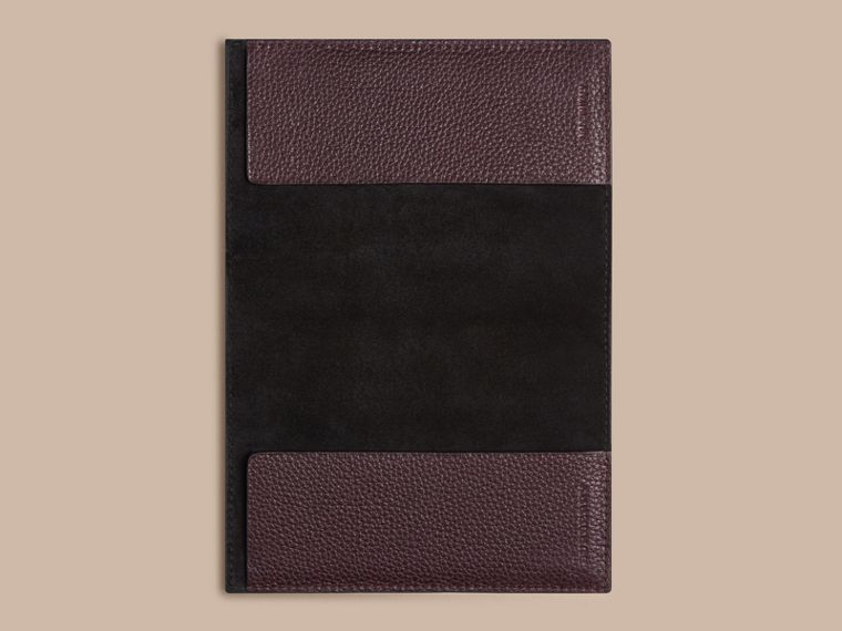 Grainy Leather Passport Cover in Ebony Red | Burberry - cell image 2