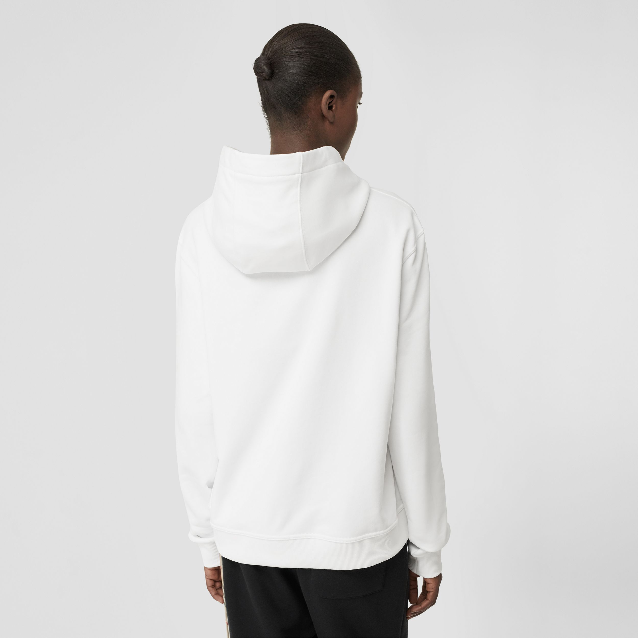 Monogram Motif Cotton Hoodie in White - Women | Burberry - 3