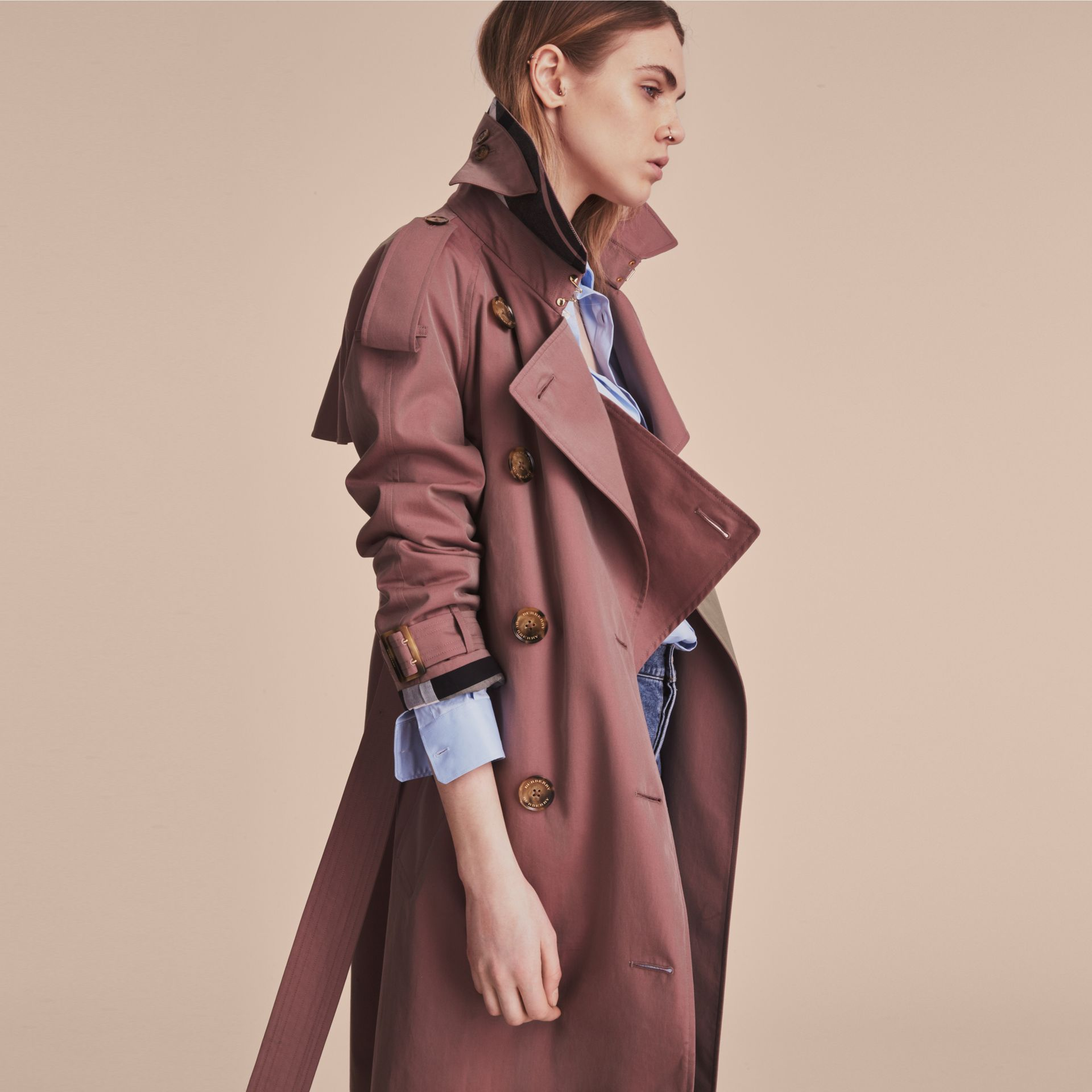 Tropical Gabardine Trench Coat in Antique Rose - Women | Burberry Canada - gallery image 7