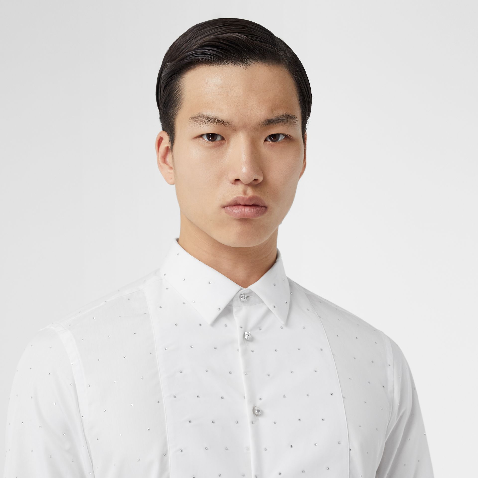 Embellished Cotton Poplin Dress Shirt in Optic White - Men | Burberry - gallery image 1
