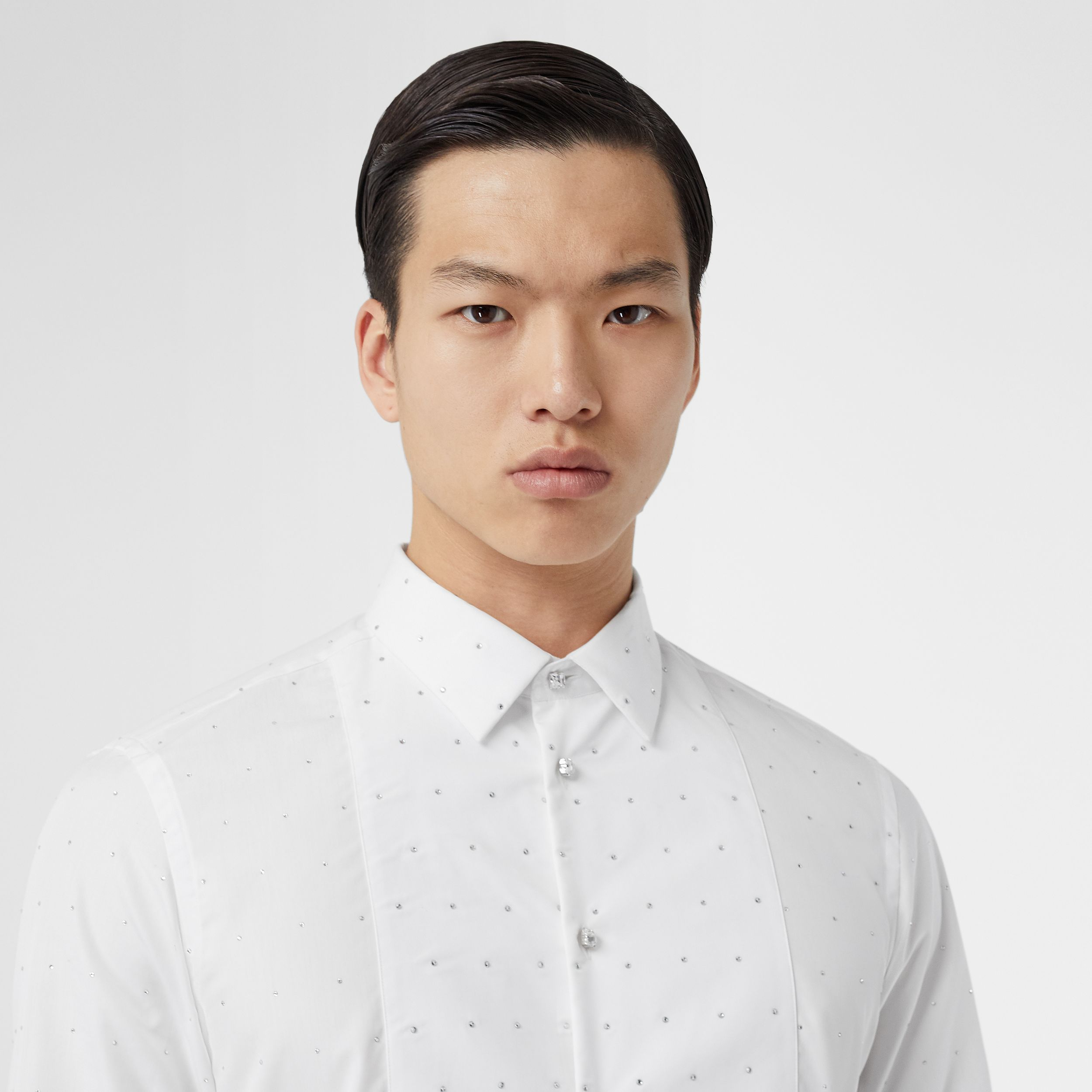 Embellished Cotton Poplin Dress Shirt in Optic White - Men | Burberry - 2
