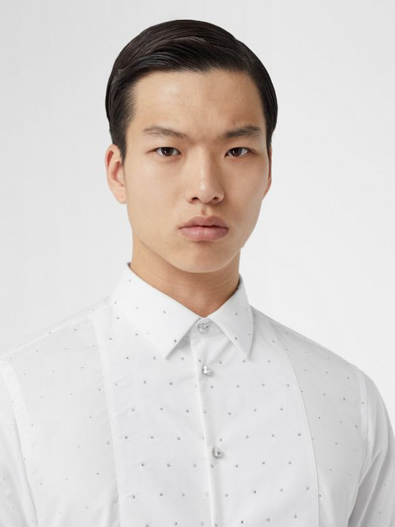 Embellished Cotton Poplin Dress Shirt in Optic White - Men | Burberry - cell image 1