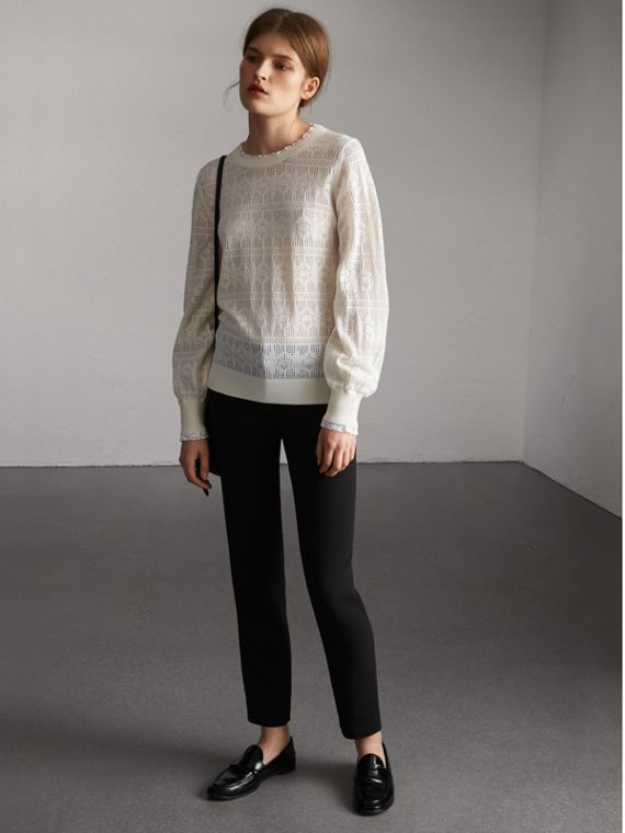 Lace Trim Pointelle Wool Cashmere Sweater in Natural White - Women | Burberry