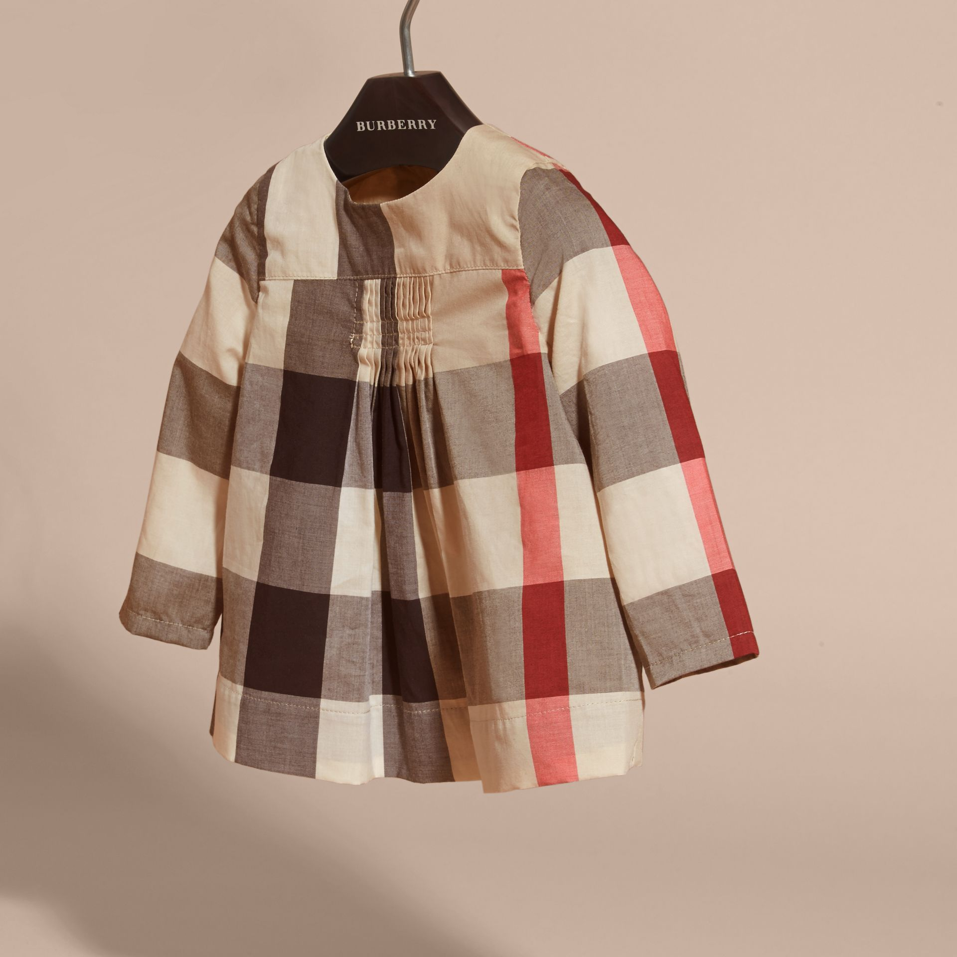 New classic check Collarless Check Cotton Blouse - gallery image 3