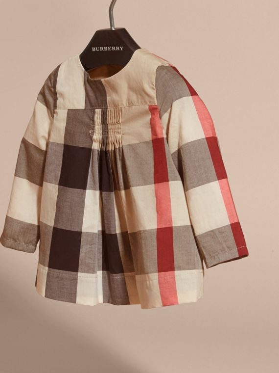 Collarless Check Cotton Blouse - cell image 2