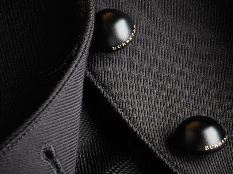 Wool Cotton Blend Twill Tailored Jacket in Black - Women | Burberry Canada - cell image 1