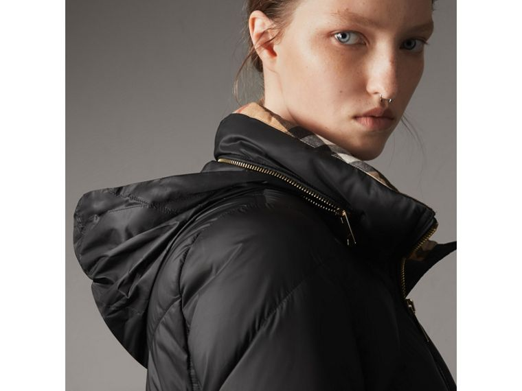 Chevron-quilted Down-filled Coat in Black - Women | Burberry - cell image 4