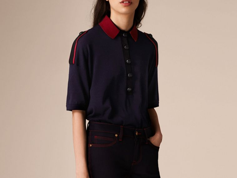 Navy/red Epaulette Detail Wool Polo Shirt - cell image 4