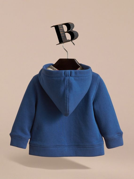 Check Detail Hooded Cotton Top in Marine Blue | Burberry Singapore - cell image 3