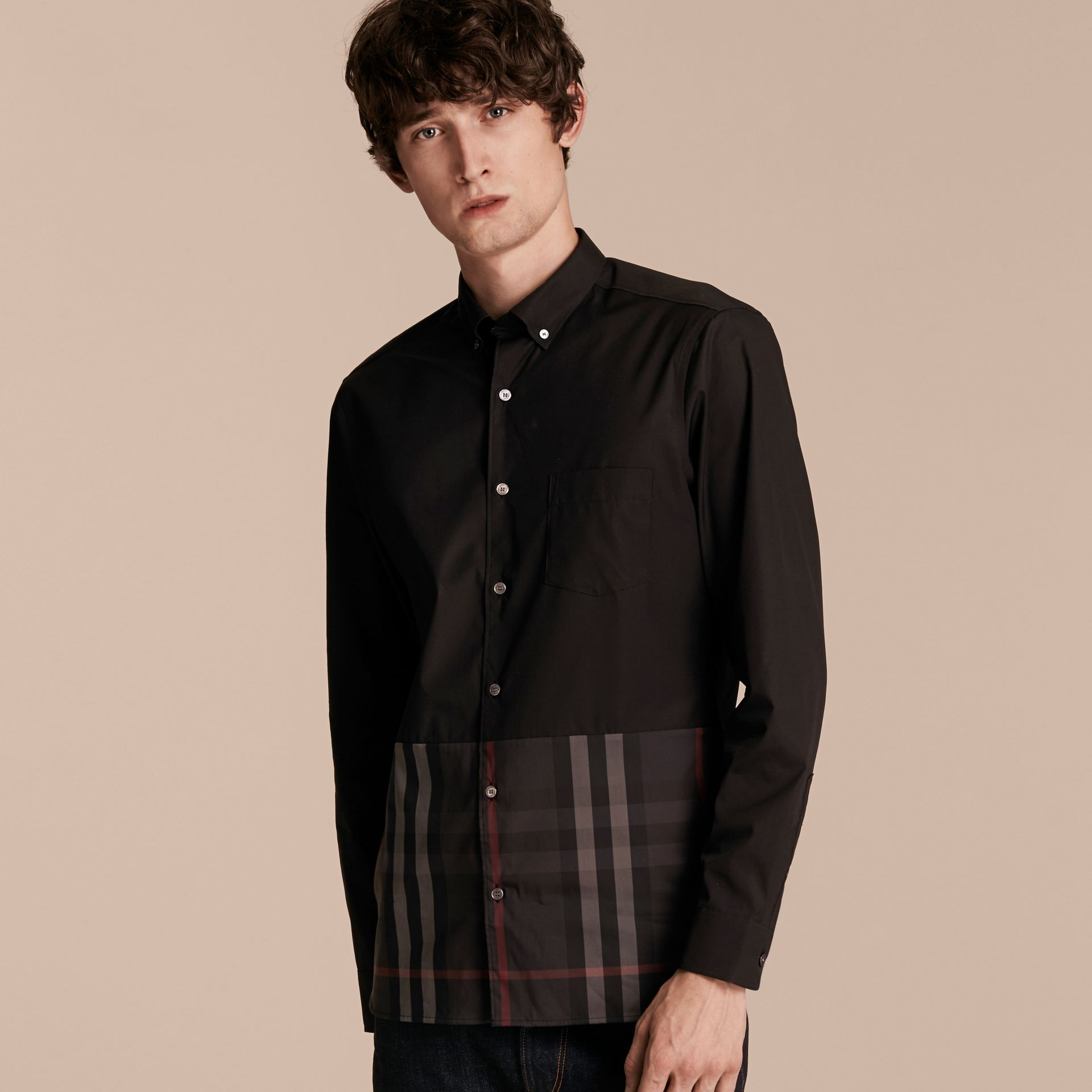 Black Check Panel Stretch-Cotton Poplin Shirt Black - gallery image 6
