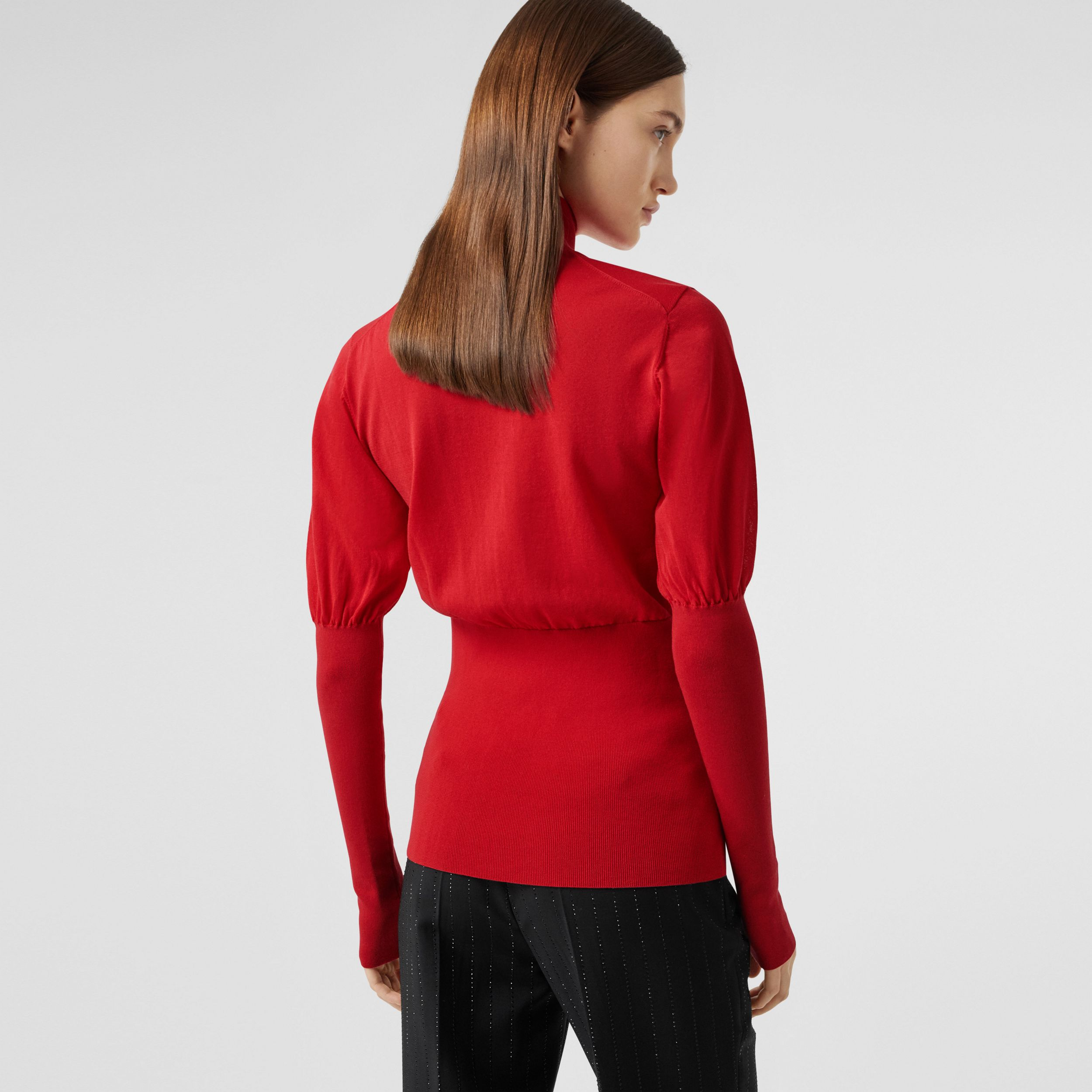 Puff-sleeve Knit Cotton Blend Turtleneck Sweater in Bright Red - Women | Burberry - 3