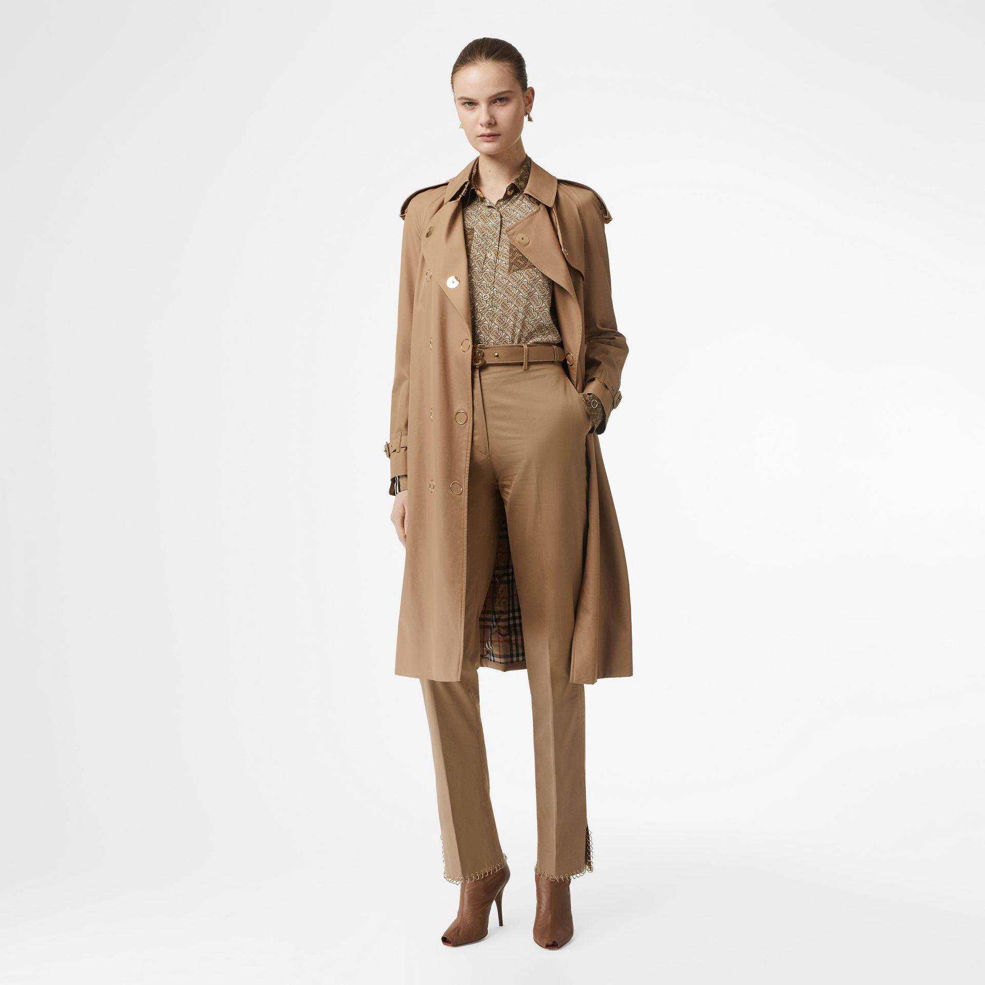 Press-stud Detail Cotton Gabardine Trench Coat in Driftwood - Women | Burberry Singapore - gallery image 0