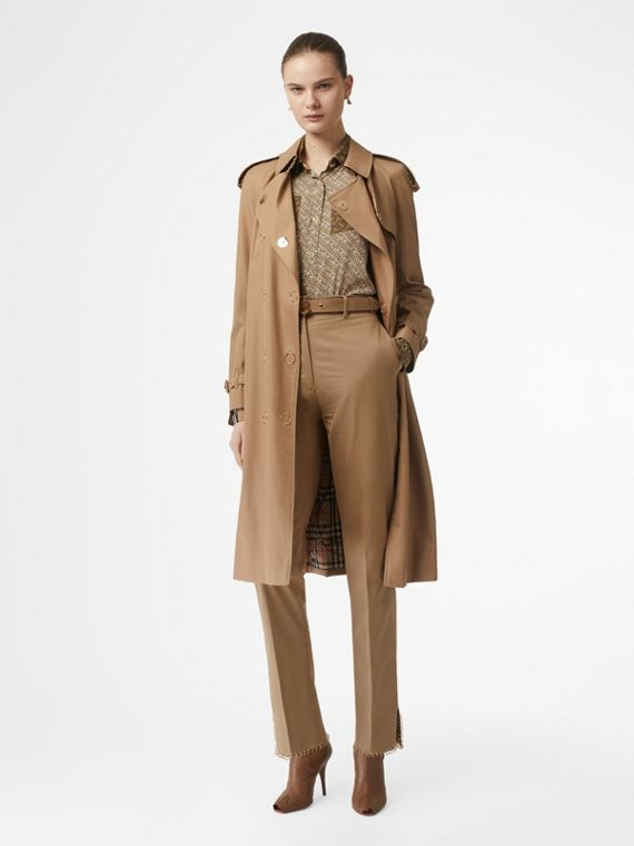 Press-stud Detail Cotton Gabardine Trench Coat in Driftwood