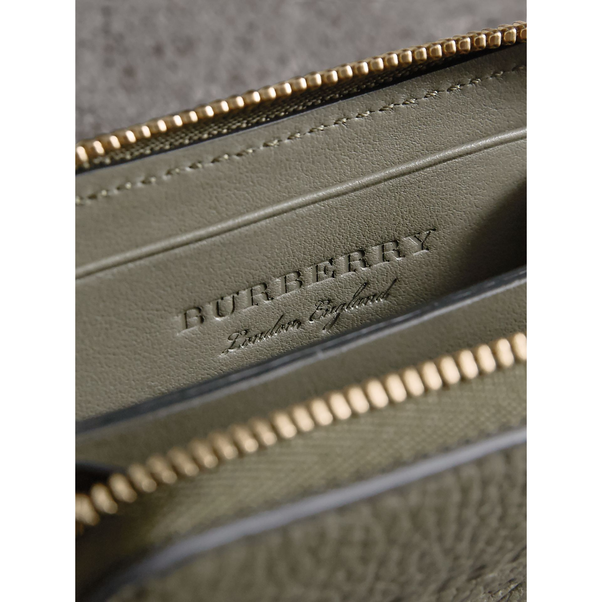 Textured Leather Ziparound Coin Case in Slate Green - Men | Burberry - gallery image 4
