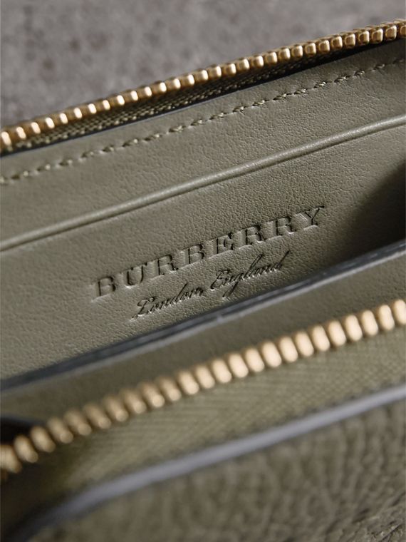 Textured Leather Ziparound Coin Case in Slate Green - Men | Burberry - cell image 3