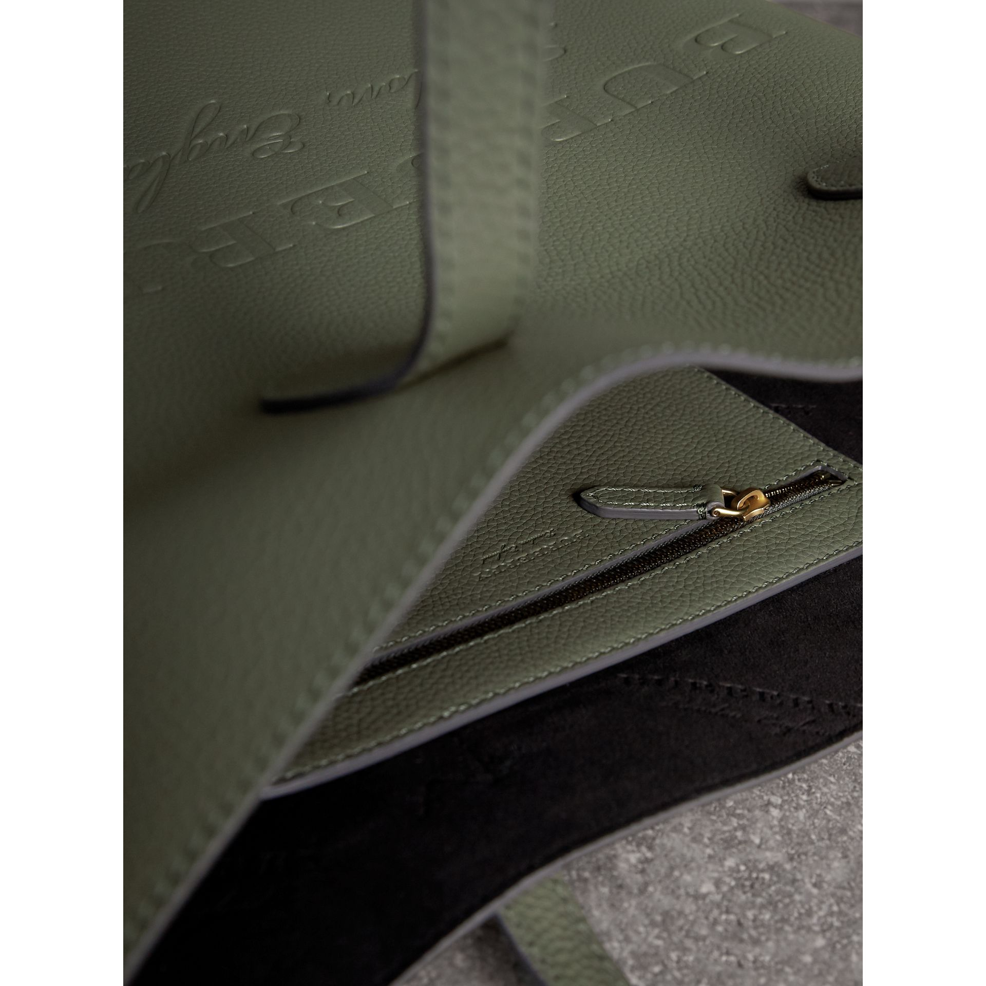 Medium Embossed Leather Tote in Slate Green | Burberry - gallery image 6
