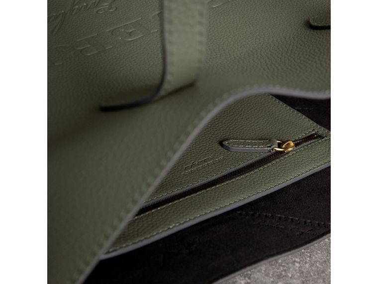 Medium Embossed Leather Tote in Slate Green | Burberry - cell image 4