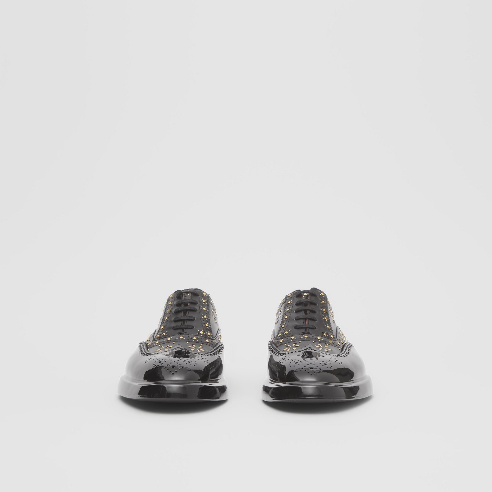 Toe Cap Detail Studded Leather Oxford Brogues in Black | Burberry Hong Kong S.A.R - gallery image 3