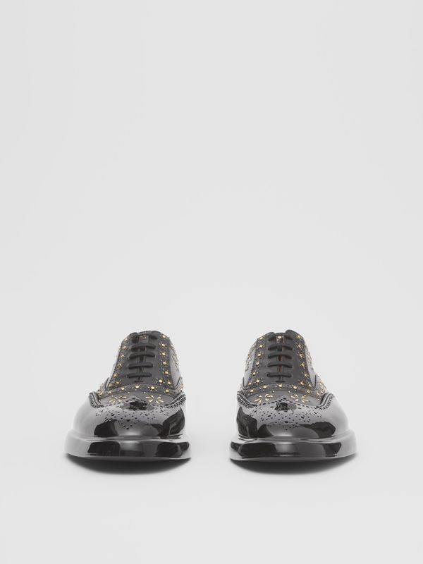 Toe Cap Detail Studded Leather Oxford Brogues in Black | Burberry Hong Kong S.A.R - cell image 3