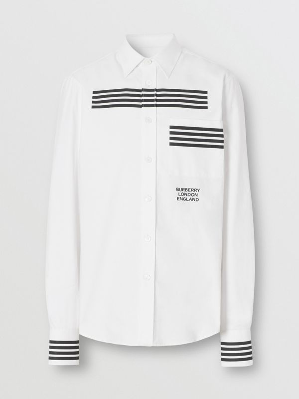 Stripe Print Cotton Oxford Shirt in White - Men | Burberry - cell image 3