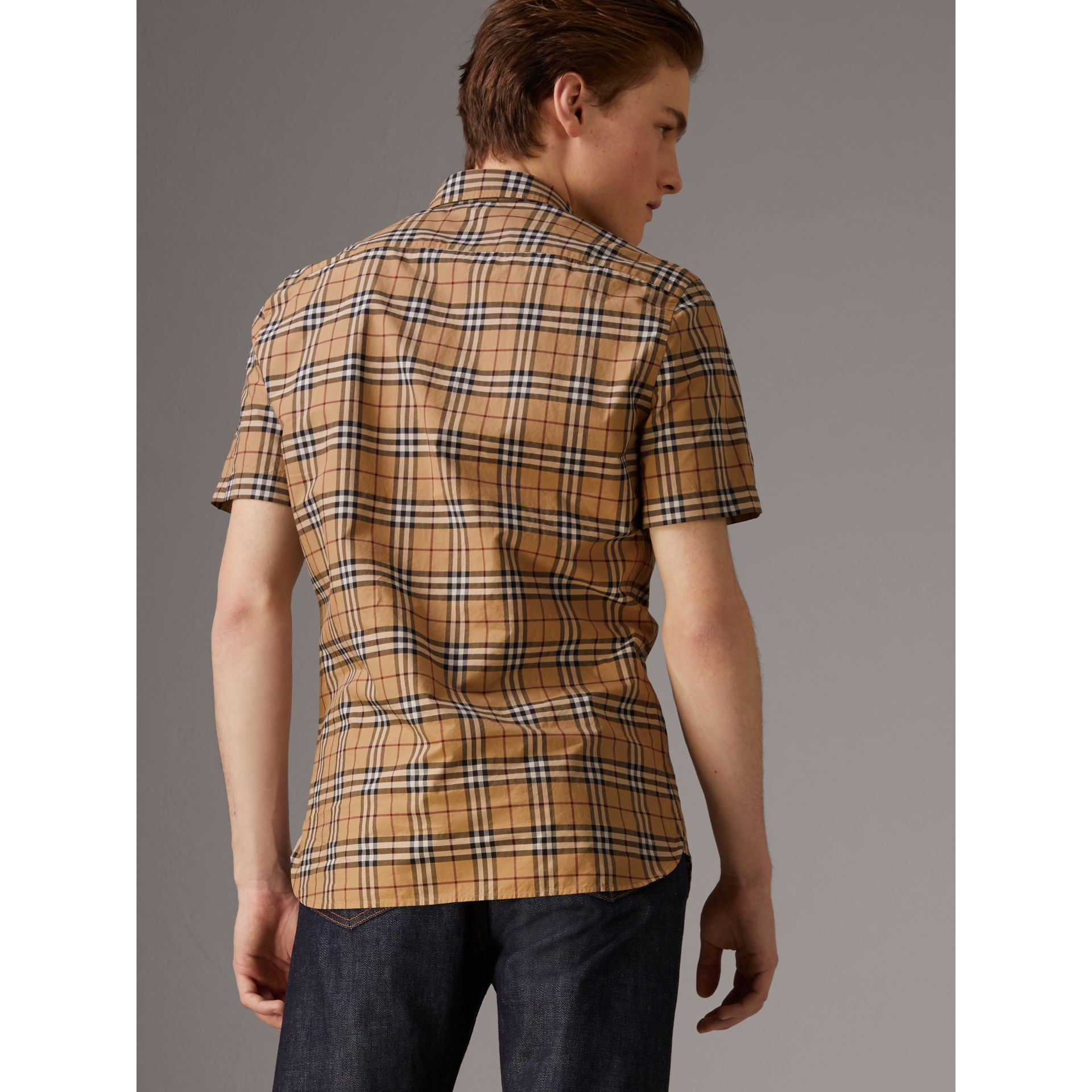Short-sleeve Check Cotton Shirt in Camel - Men | Burberry United Kingdom - gallery image 2