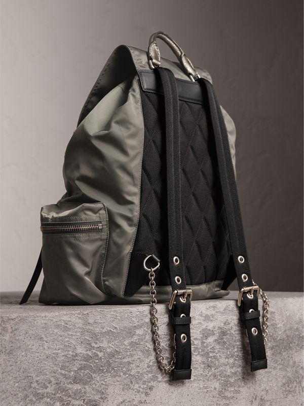 The Medium Rucksack in Technical Nylon and Leather in Dark Grey/dark Grey - Women | Burberry Singapore - cell image 3
