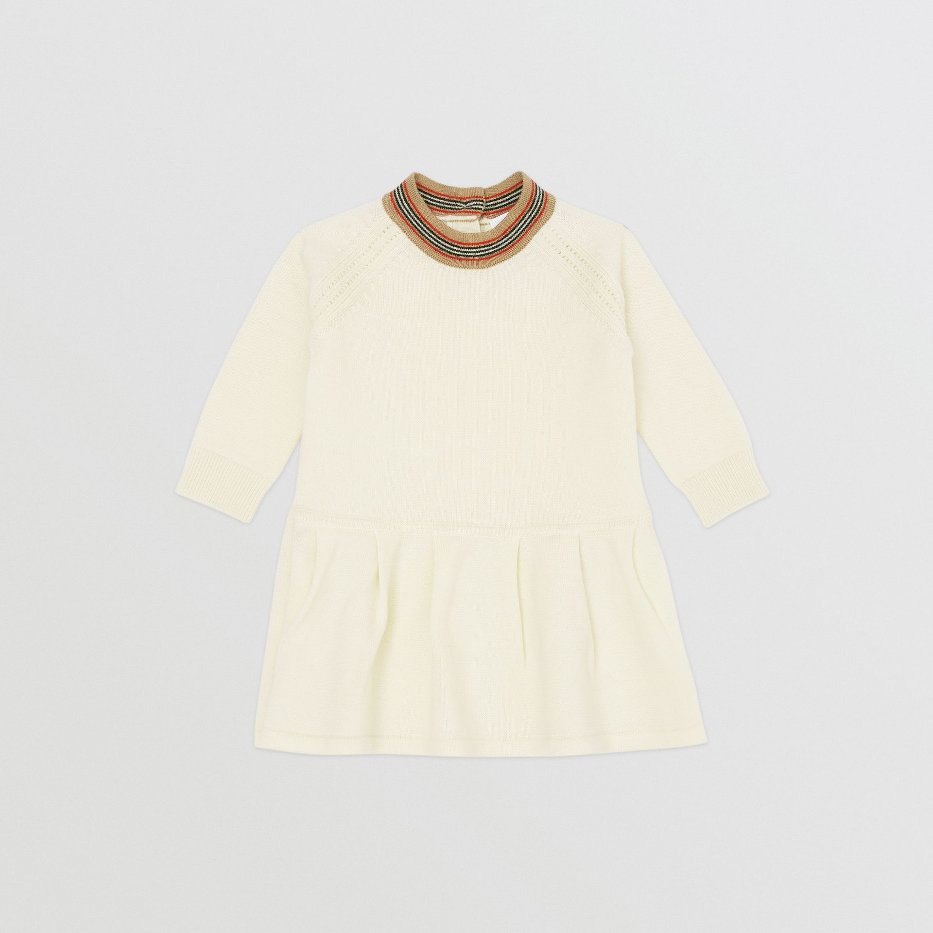 Icon Stripe Trim Merino Wool Dress in Ivory - Children | Burberry United States - gallery image 0