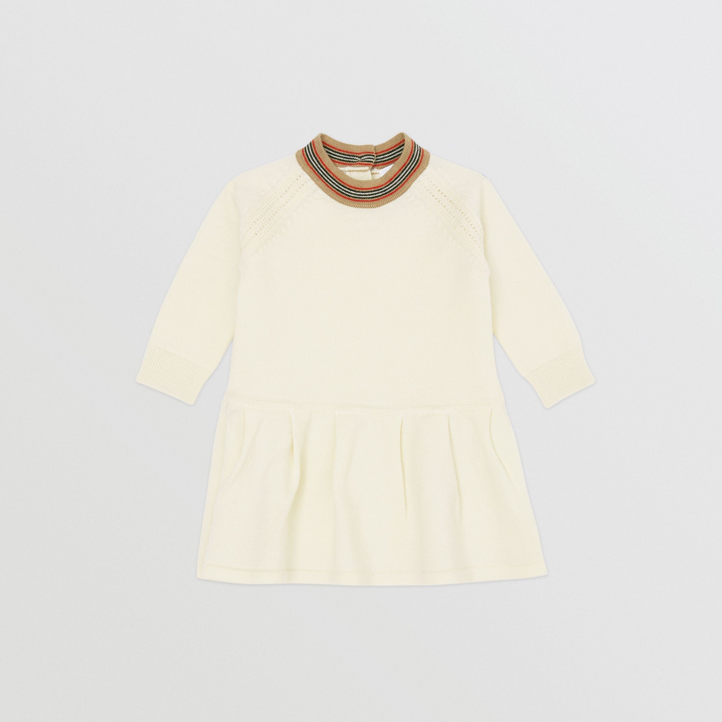 Icon Stripe Trim Merino Wool Dress in Ivory - Children | Burberry Canada - 1