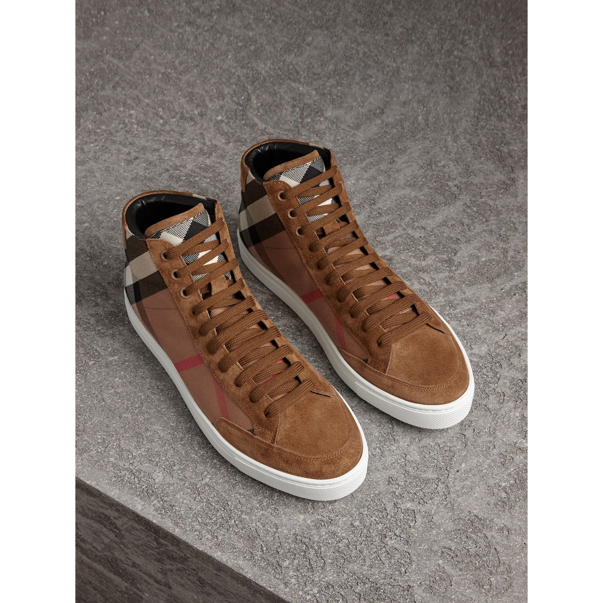 House Check Cotton and Calf Suede High-top Trainers in Flax Brown - Men | Burberry Australia - gallery image 1